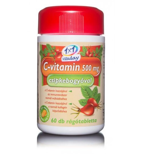 1X1 VITADAY RÁGÓTABLETTA C-VITAMIN 500MG
