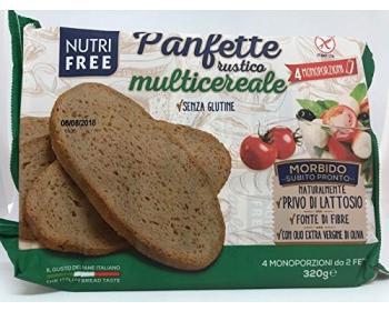 GLUTÉNMENTES NUTRI FREE PANFETTE RUSTICO MULTICEREALE BARNA SZELETELT KENYÉR 320G